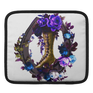 Vintage Goth Floral Boot & Lucky Horseshoe Sleeve For iPads