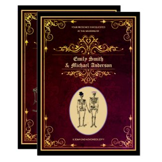 Vintage Goth Skeleton Wedding Engagement Invitation