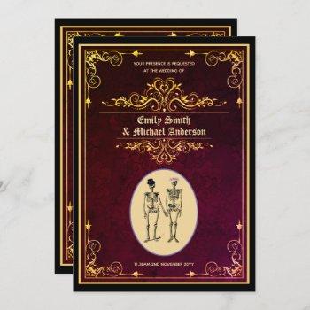 Vintage Goth Skeleton Wedding Engagement Invitation