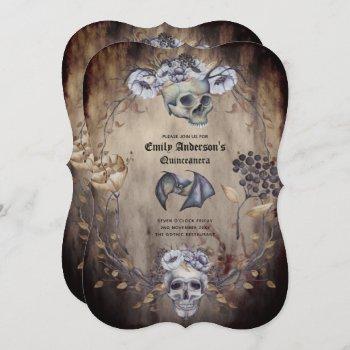 Vintage Goth Skulls Purple Orange Floral 15th Bday Invitation