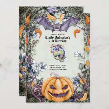 Vintage Goth Skulls Purple Orange Floral 21st Girl Invitation