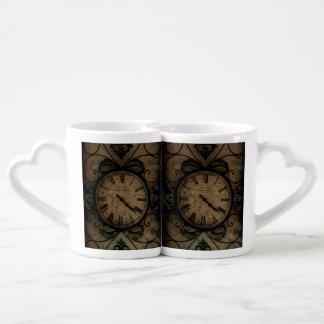 Vintage Gothic Antique Wall Clock Steampunk Coffee Mug Set