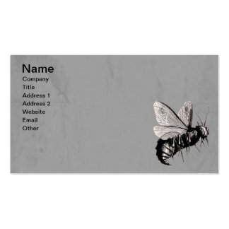 Vintage Gothic Bees Skull Wings Gray Business Card Templates
