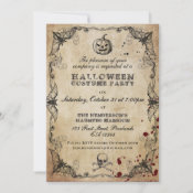 Vintage Gothic Halloween Costume Party Invitation