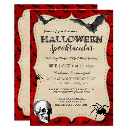 Vintage Gothic Halloween Party Invitation