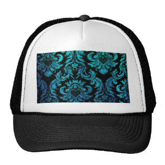 vintage gothic hipster black turquoise damask chic trucker hat