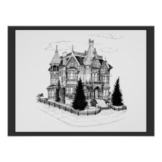 Vintage Gothic Home 1885 Poster