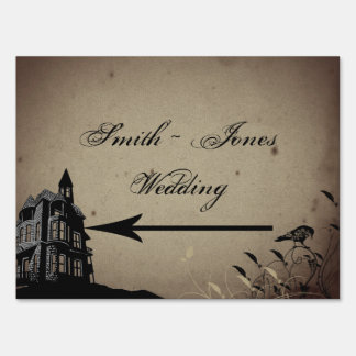 Vintage Gothic House Wedding Direction Sign