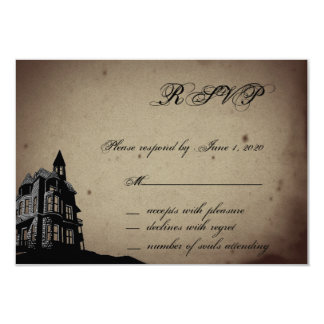Vintage Gothic House Wedding Response Card