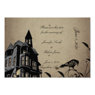 Vintage Gothic House Wedding Save the Date Announcement