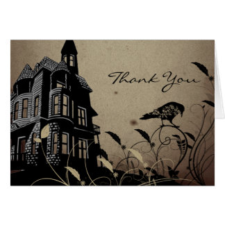 Vintage Gothic House Wedding Thank You Card