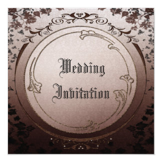 Vintage Gothic Nature Frame Linen Wedding Invites