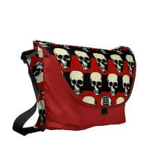 Vintage Gothic  punk skulls on red  black stripes Courier Bag at Zazzle
