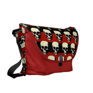 Vintage Gothic  punk skulls on red  black stripes Courier Bag