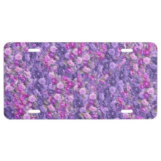 Vintage Gothic Rose Lavender Purple License Plate