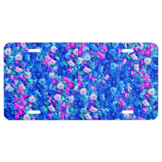 Vintage Gothic Rose Pink and Blue License Plate