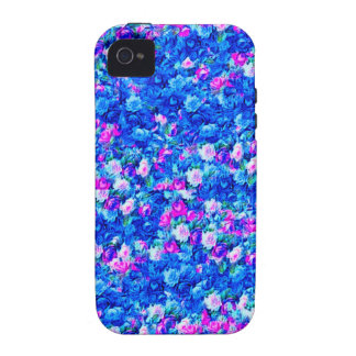 Vintage Gothic Rose Pink Blue Vibe iPhone 4 Cases