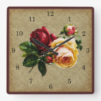 Vintage Gothic Rose Square Wall Clock