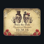 """Vintage Gothic Skeleton Couple Save The Date Magnet<br><div class=""""desc"""">Old gothic save the date magnet with cute dead skull couple.</div>"""