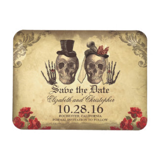 Vintage Gothic Skeleton Couple Save The Date Rectangular Magnets