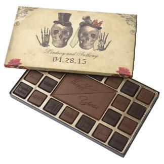 vintage Gothic skeleton couple wedding chocolate 45 Piece Assorted Chocolate Box