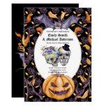 🎃 Vintage Gothic Skulls Purple Oranage Flowers Goth Invitation