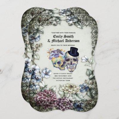 Vintage Gothic Skulls Purple Oranage Flowers Goth Invitation