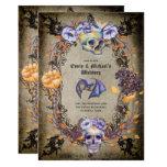 🎃  Vintage Gothic Skulls Purple Orange Flowers Goth Invitation