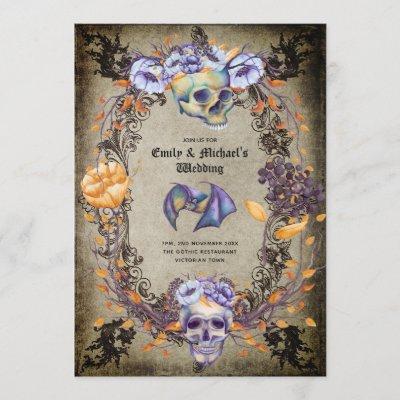 Vintage Gothic Skulls Purple Orange Flowers Goth Invitation