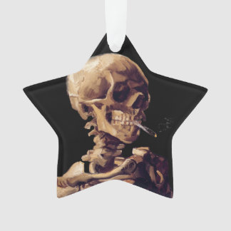 Vintage gothic smoking skeleton by Van Gogh