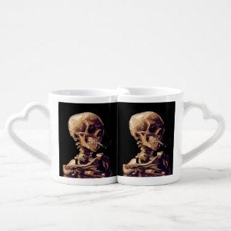 Vintage gothic smoking skeleton by Van Gogh Coffee Mug Set