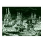 Vintage gótico de la negativa del grabado de la ca postales