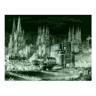 Vintage gótico de la negativa del grabado de la ca tarjeta postal