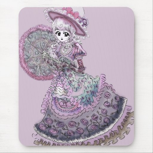 Vintage gótico de Lolita del Victorian del chica r Alfombrilla De Ratón