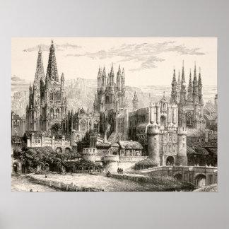 Vintage gótico del chapitel del castillo de España Impresiones