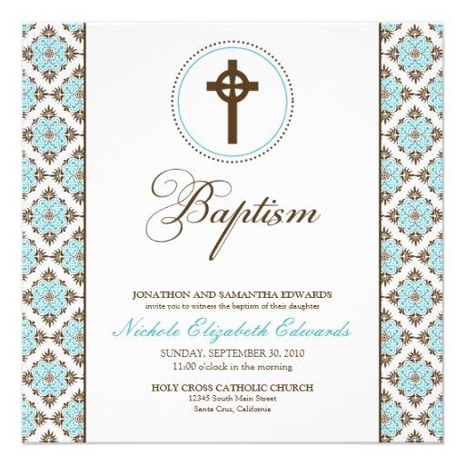 Vintage Grace Baptism Invitation (chocolate/aqua)