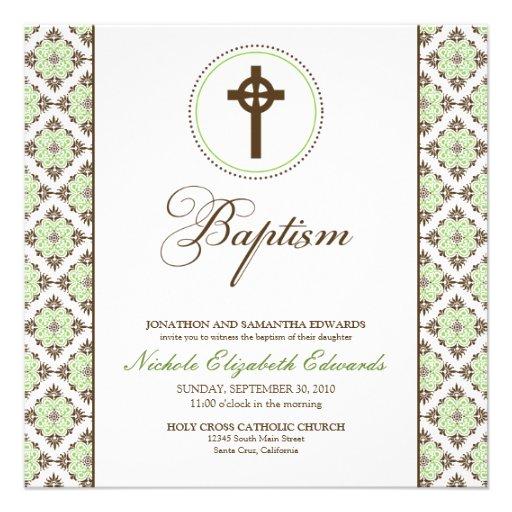 Vintage Grace Baptism Invitation (chocolate/green)