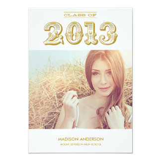 "VINTAGE GRAD | CLASS OF 2013 GRADUATION INVITATION 5"" X 7"" INVITATION CARD"