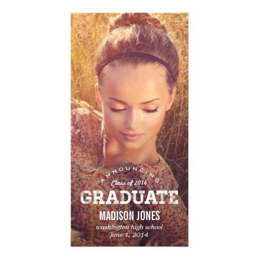 Vintage Grad Graduation Announcement Customized Photo Card