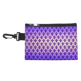 Vintage gradient blue fleur de lis pattern accessory bags