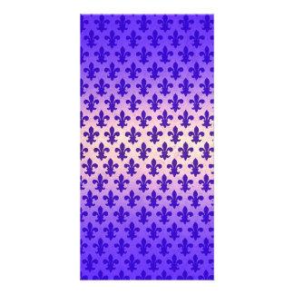 Vintage gradient blue fleur de lis pattern card