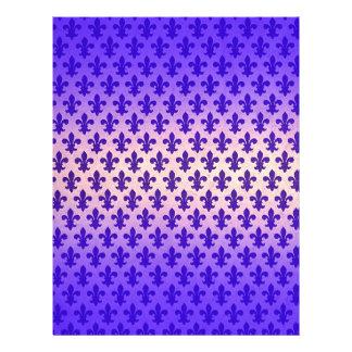 Vintage gradient blue fleur de lis pattern flyer