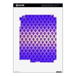 Vintage gradient blue fleur de lis pattern iPad 3 skins