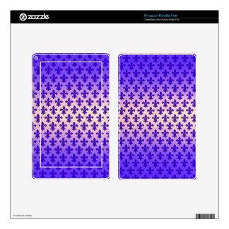 Vintage gradient blue fleur de lis pattern kindle fire decals