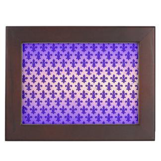 Vintage gradient blue fleur de lis pattern keepsake box