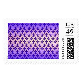 Vintage gradient blue fleur de lis pattern postage