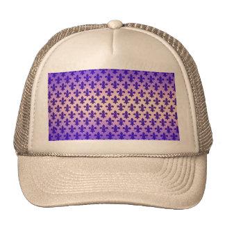 Vintage gradient blue fleur de lis pattern trucker hat