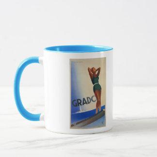 Vintage Grado Italian travel poster pinup Mug