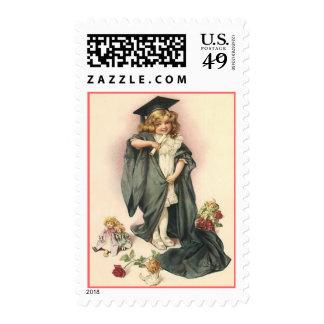 Vintage Graduate Grad amongst Dolls Postal STAMP