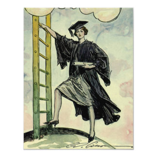Vintage Graduation, Climbing the Corporate Ladder 4.25x5.5 Paper Invitation Card
